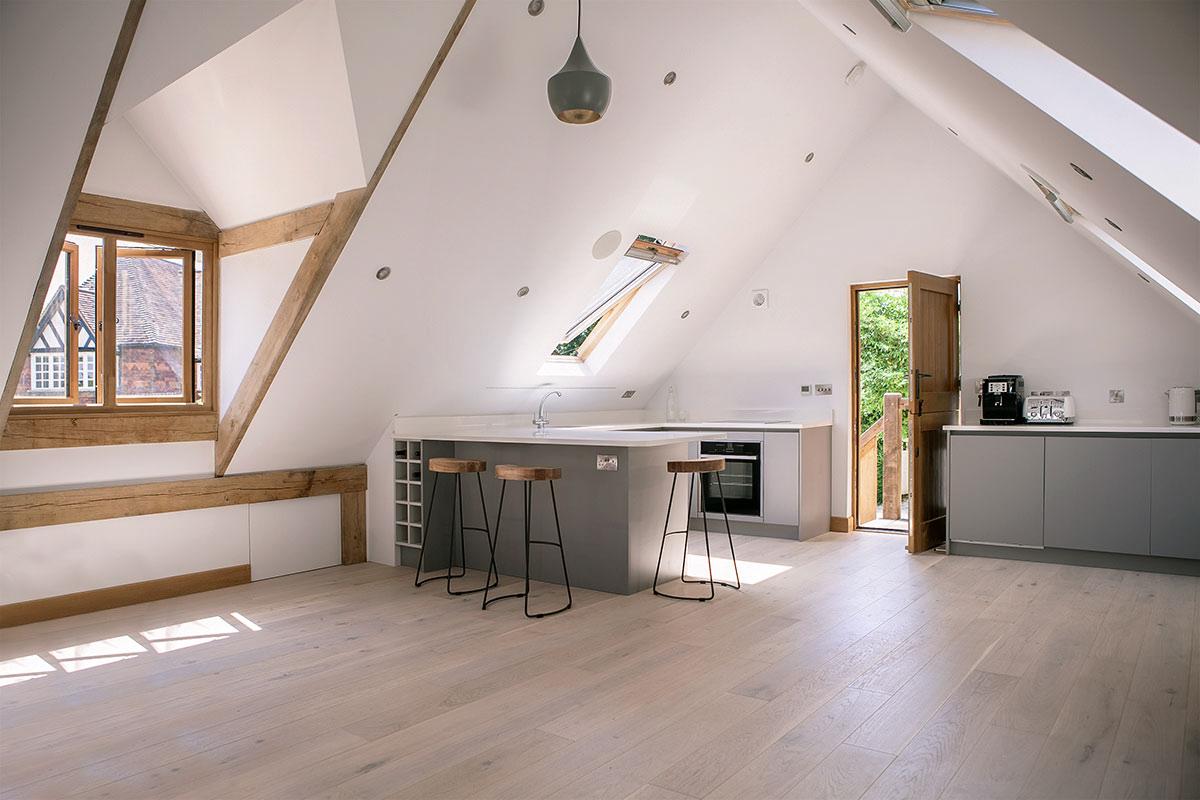 Room above garage kitchen.