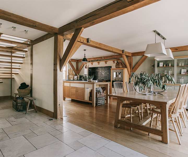 Oak frame home open plan interior