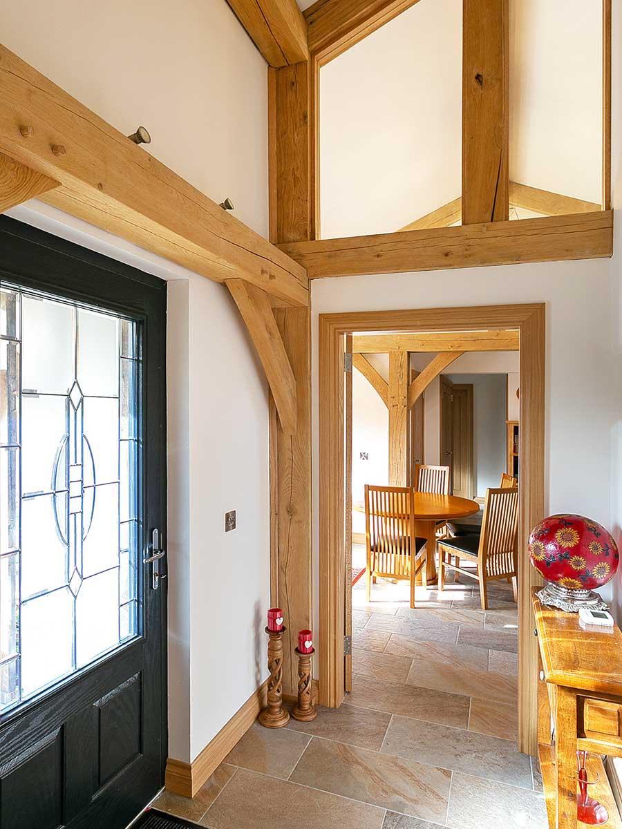 Entrance to an oak frame home