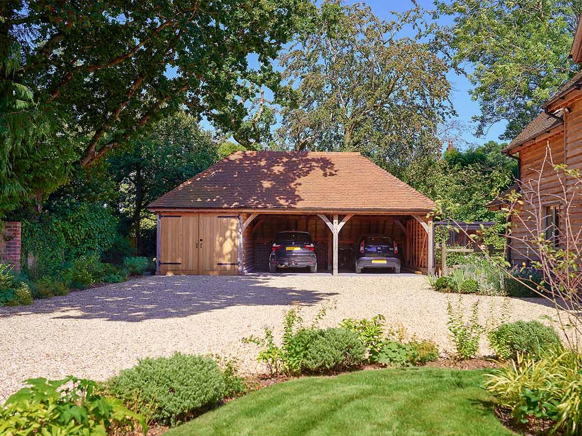 Oak frame garage with hidden basement