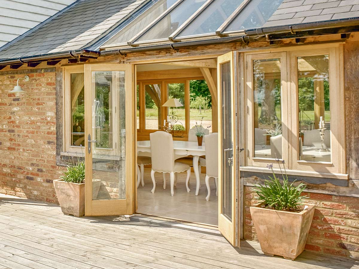 Oak frame conservatory extension dining room